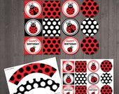 PRINTABLE Ladybug Cake Toppers and Wrappers - INSTANT DOWNLOAD for a ladybug theme party