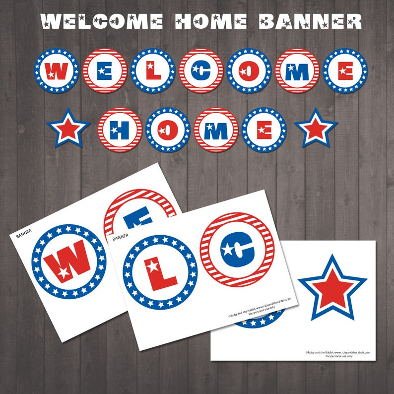 picture relating to Welcome Home Banner Printable identify Quick Down load - Printable Welcome House Banner - Purple, White and Blue - Superstars and Stripes Welcome House Indicator