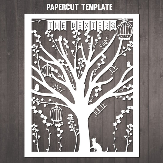 Diy Family Tree Papercut Template Personalised Family Tree Etsy