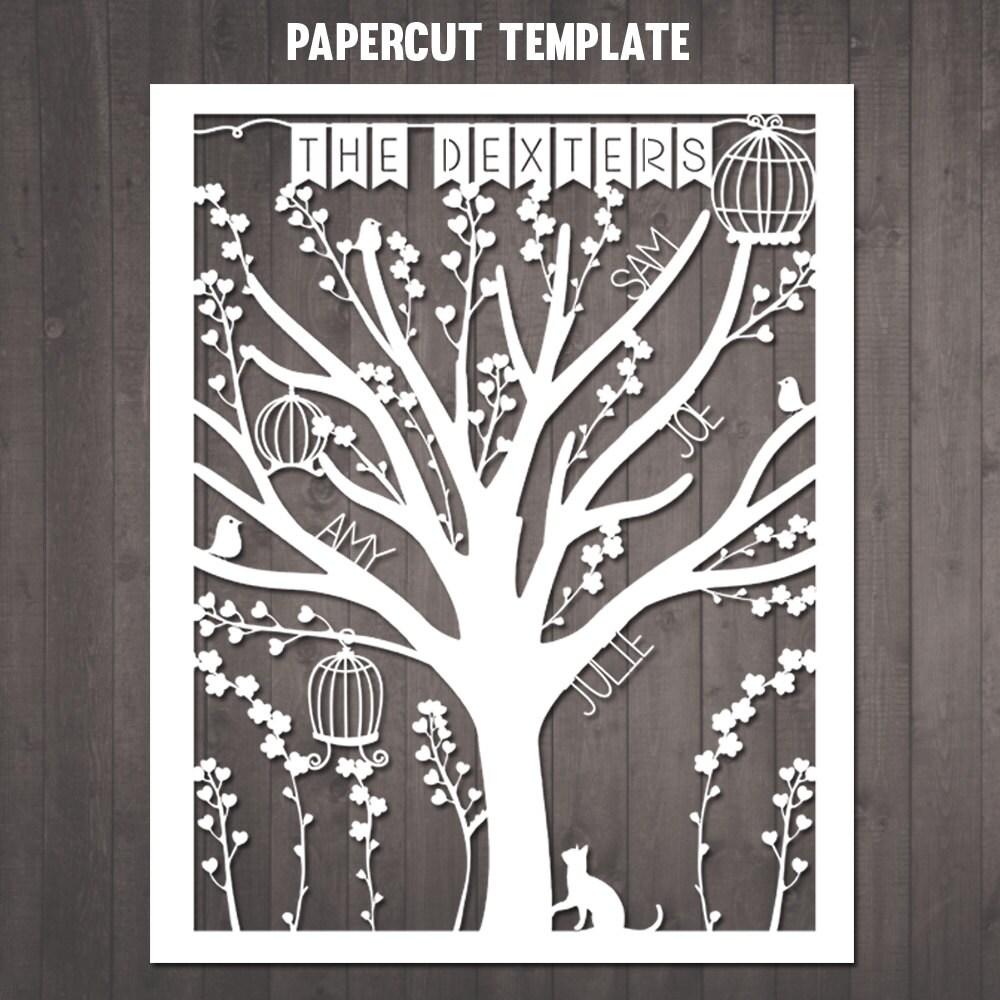 Diy Family Tree Papercut Template Personalised Family Tree Etsy