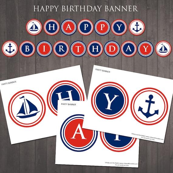 PRINTABLE Nautical 'happy Birthday' Banner Instant