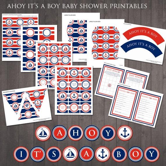 2d29c891ba960 INSTANT DOWNLOAD Ahoy it's a Boy Nautical Baby Shower   Etsy