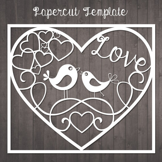 Papercut Template Birds In Love Paper Cut Template To Cut Etsy