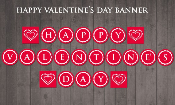 photo relating to Happy Valentines Day Banner Printable referred to as PRINTABLE joyful valentines working day banner - Do-it-yourself valentine banner