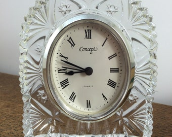 SALE!!  Vintage Lead Crystal Clocks, Glass Clock, Mantle Clock, Desk Clock,