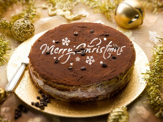 Merry Christmas Decorations Round Stencil Cake H014 Round Etsy