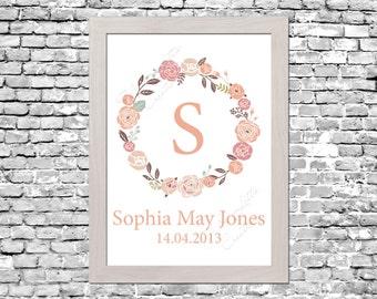 Custom Floral Wreath Nursery Print - Digital Download