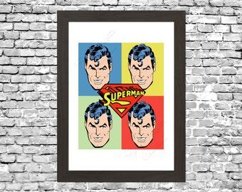 Retro Superman Pop Art Comic Wall Art Printable Instant Download