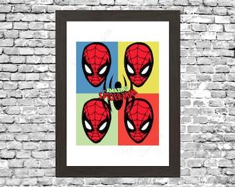 Retro Spiderman Pop Art Comic Wall Art Printable Instant Download