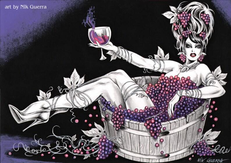 Ursprüngliche Nik Guerra Kunst Illustration Magenta Grape Etsy