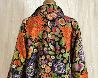 e0919600875c Vintage 1920s Flapper Coat   Hand Embroidered   Duster   Wearable Art    Lightweight Coat   M L
