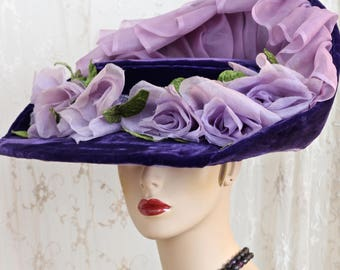 Whynaughtshop Elaborate 'Titanic Era' Fancy Hat / Antique Hat / 1900's / Purple Silk Velvet / Kentucky Derby / Steampunk  /