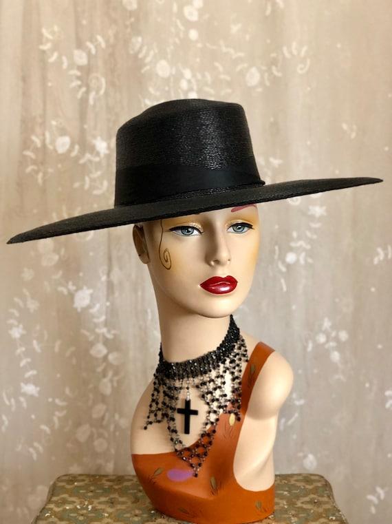 Rare 1900's Hat / Woven Straw Sun Hat / Antique Ha