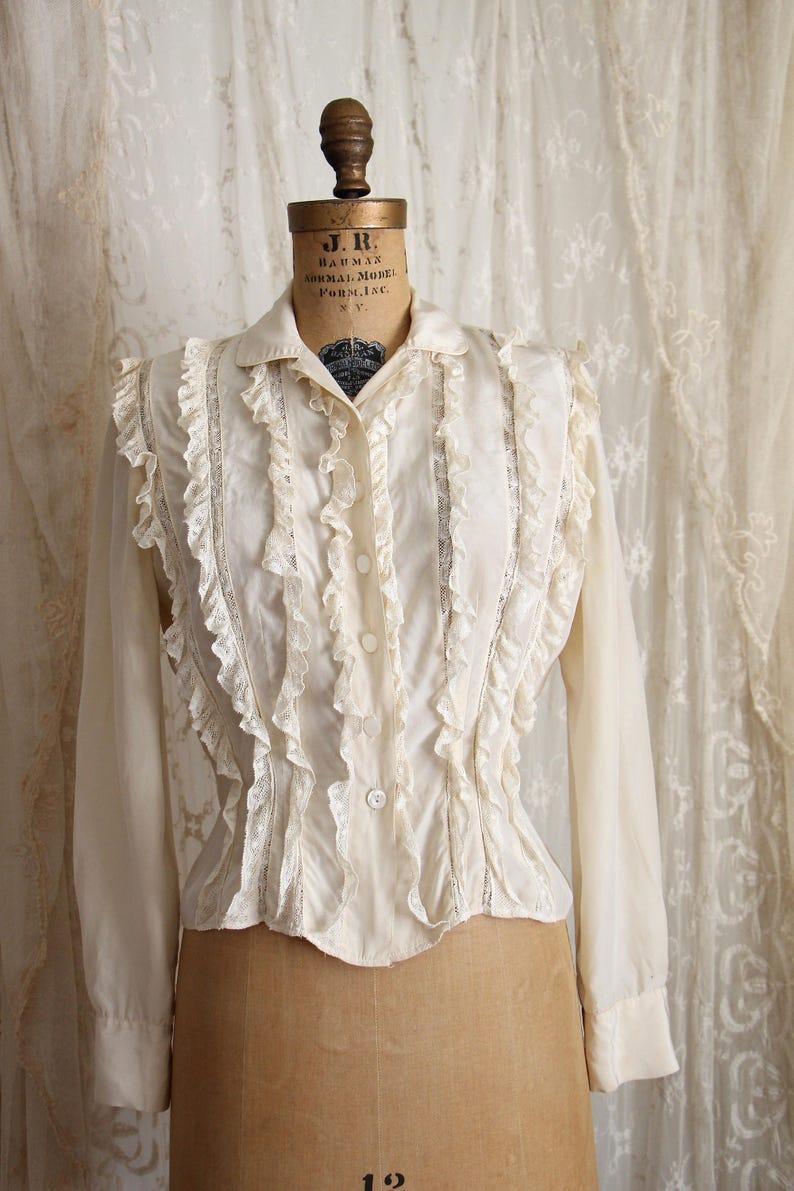 e9b07bbbc Vintage 1950's Blouse / Amelia Gray Silk Blouse / Inset | Etsy