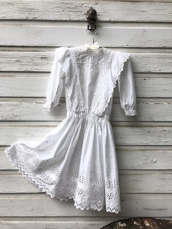 Antique 1910's White Cotton Edwardian Girls Dress