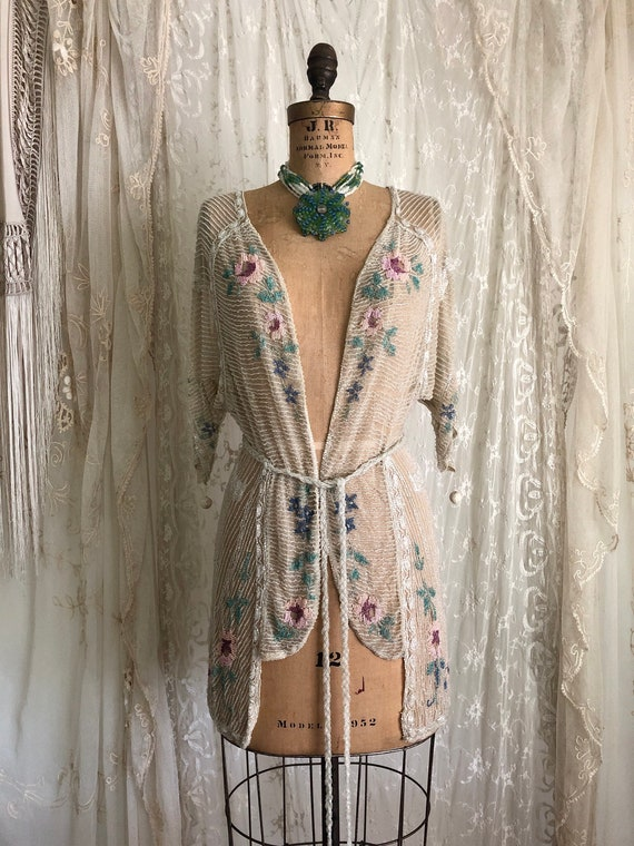 Sold / Vintage 1920's Beaded Top Beaded Jacket Ove