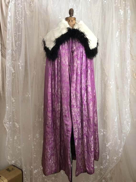 Dramatic 1920s Metallic Lame Opera Cape/ Antique C