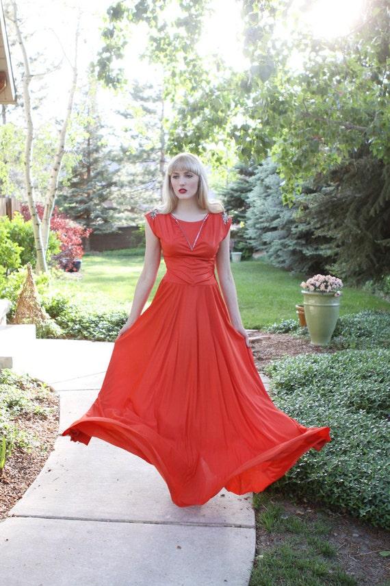 Vintage 1930s  Dress / Blood Orange / Sequin Embel