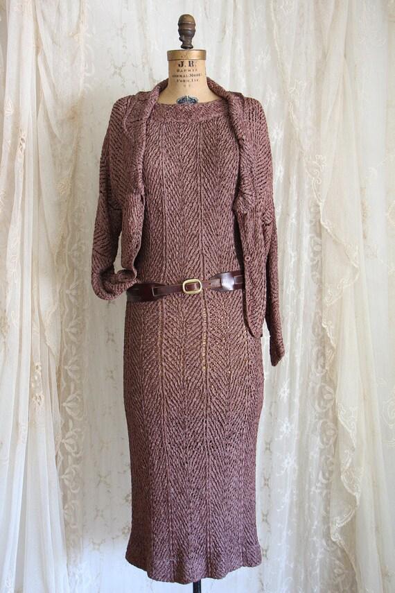 Vintage 1940s Dress / Ribbon Dress & Matching Jack