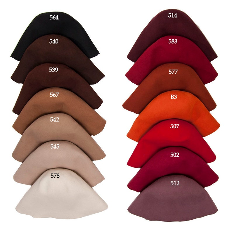 f88e14a8a Wool felt body cones in 31 colors Felt bodies for Millinery hat hood