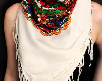BIG size shawl scarf in 13 colors with flower patterns and fringes POLISH folk fashion FOULARD