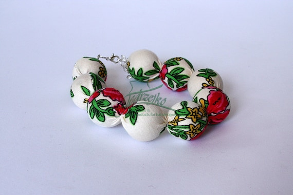 RED folk set BRACELET and NECKLACE corals handmade etno scarf Poland with flowers