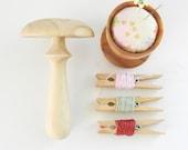 Darning mushroom (Natural Large) wooden mending tool