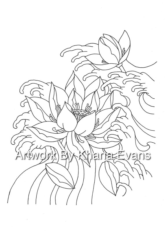 Japanese Lotus Flower Tattoo Design Pdf A4 Printout Colouring Etsy