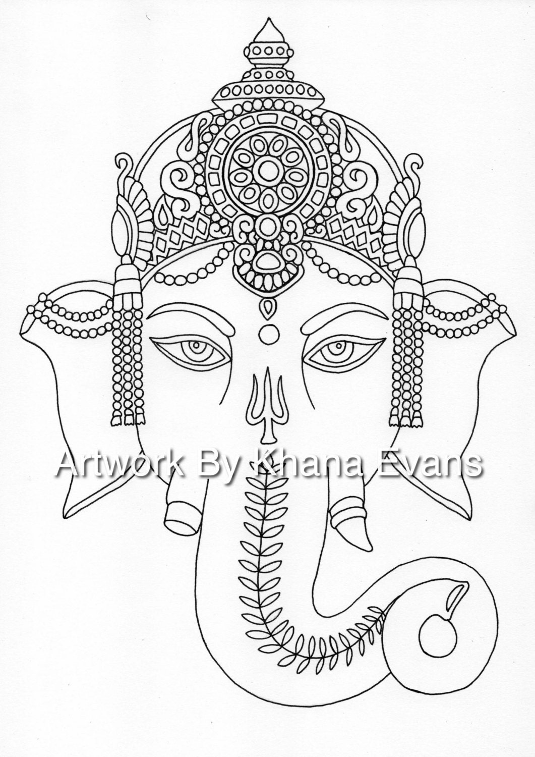 ganesh indian tattoo design pdf a4 printout colouring page etsy