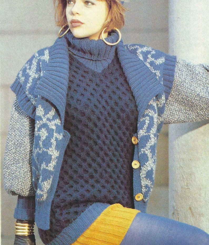1980/'S Vintage Knitting pattern cute leopard waistcoat with collar design PDF Download pattern only