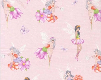 Michael Miller Fairy Frolic, pink cotton fabric, 100% cotton,