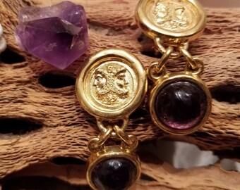 243151630d Fendi Vintage Roma Italy 1925 Gold Plated JANUS Medallion Purple Cab Dangle  Earring