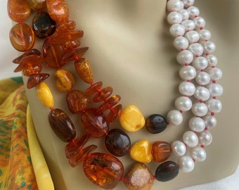 Pearl Amber Necklace, graduated and hand knotted, mix amber, 8 to 10mm fresh water pearls, 4 mm Bohemian crystal with custom sterling toggle