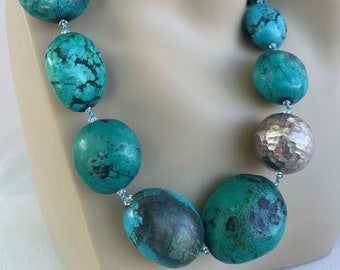 Natural Turquoise Necklace, handknotted 22 to 30 mm turquoise, 10 mm matte crystal, 27 mm Dented Sterling Ball with Sterling Silver Findings