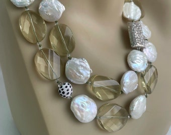 Lemon Quartz Pearl Necklace, hand knotted in silk thread, faceted hand cut Lemon Quartz, fresh water Coin Pearls with Custom Sterling Toggle