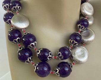 Amethyst Sterling Necklace, hand knotted 16 to 18 mm Amethyst, brushed dented sterling beads with sterling silver findings and toggle
