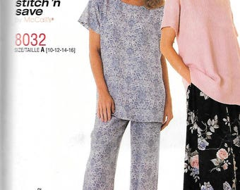 McCall's Stitch 'n Save Pattern 8032 PULL-ON PANTS/Skirt Top Misses Sizes 10 12 14 16