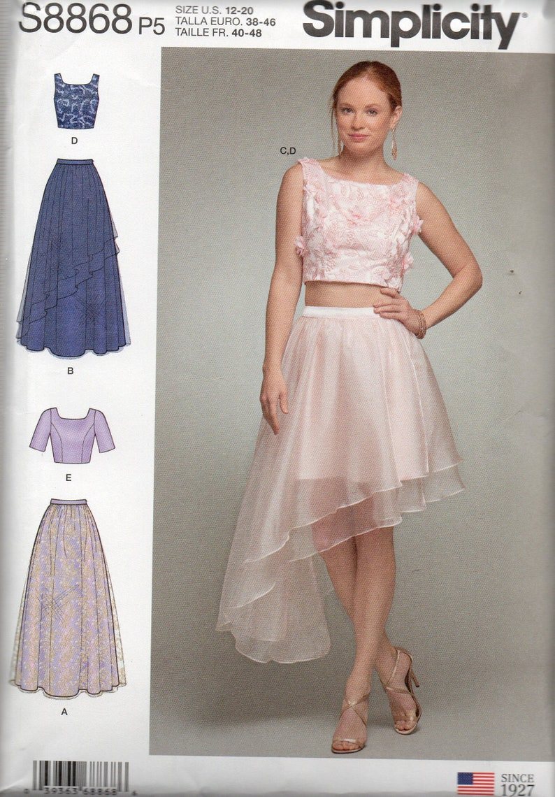 new arrivals official images buy cheap Simplicity Pattern 8868 Special Occasion TOPS & SKIRTS w/OVERLAYS Misses  Sizes 4 6 8 10 12