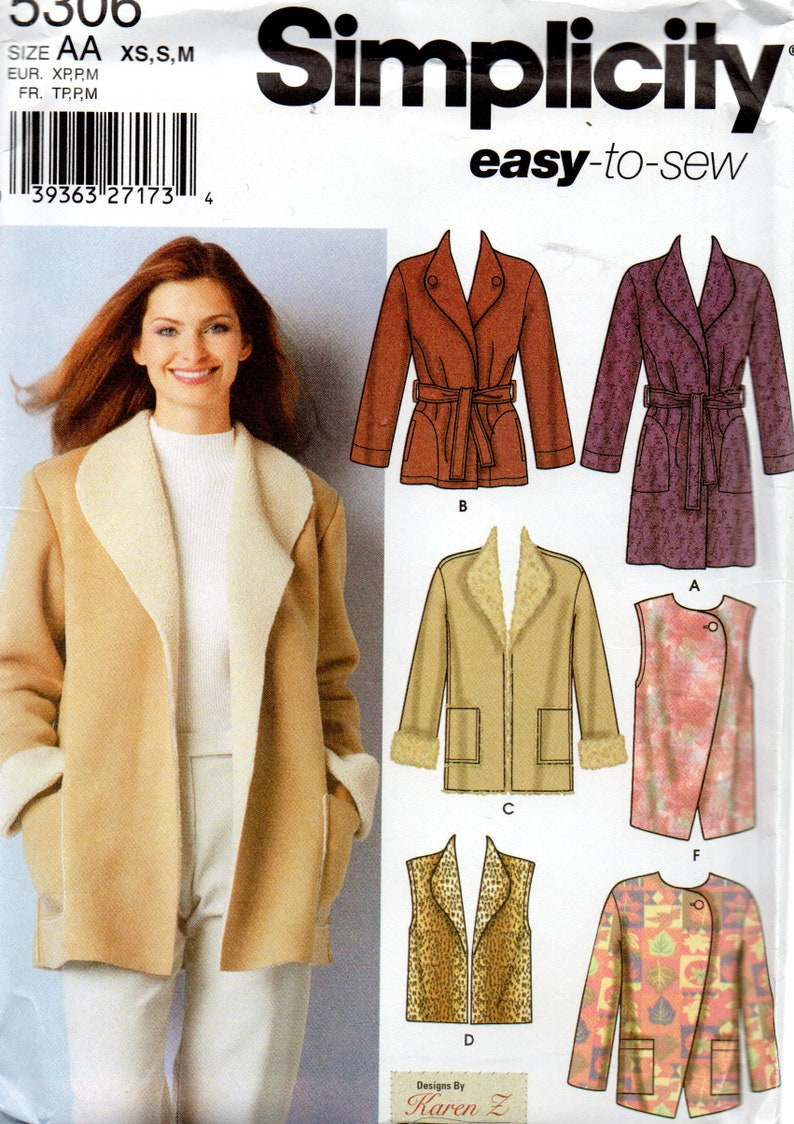 Easy To Sew Simplicity Pattern 5306 Coat Jacket Vests Misses Etsy