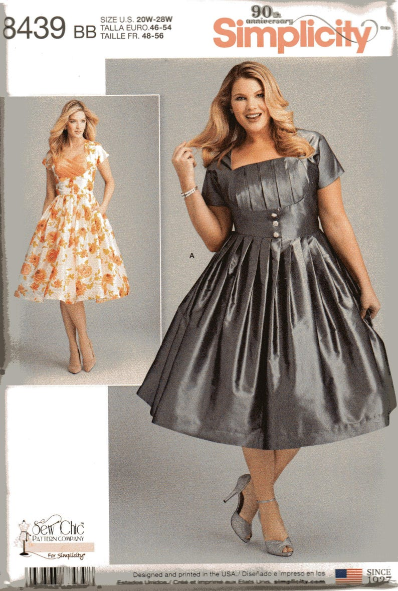 Simplicity Pattern 8439 DRESS with BODICE VARIATIONS Misses Sizes 10 12 14  16 18