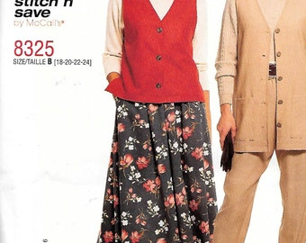 McCall's Easy Stitch 'n Save Pattern 8325 VESTS PANTS & SKIRT Misses Sizes 18 20 22 24