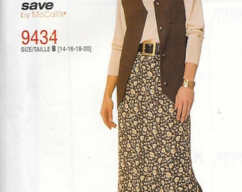 McCall's Easy Stitch 'n Save Pattern 9434 VEST & SKIRT Misses Sizes 14 16 18 20
