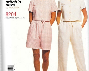 McCall's Stitch 'n Save Pattern 8204 PULL-ON PANTS/Shorts Crop Top Misses Sizes 8 10 12 14