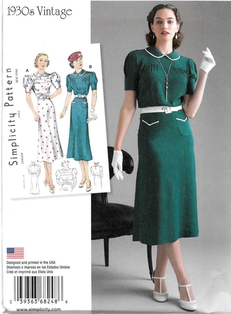 Vtg 30s Dress Puffed Sleeve Pleat Gathered Yoke Belt Sewing Pattern 4 6 8 10 12