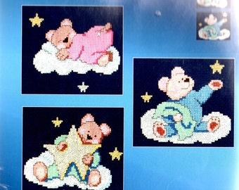 2004 Janlynn Counted Cross Stitch Kit BEDTIME BEAR TRIO