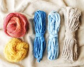 Weaver's Pack, Frame Loom Weaving Kit, Indigo, Natural Dye, Fiber Bundle, Wool, Cotton, Botanical Dye, 0 Waste Design