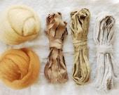 Weaving Kit, Weaver's Pack, Frame Loom Weaving, Natural Dye, Fiber Bundle, Wool, Cotton, Botanical Dye, 0 Waste