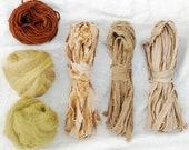 Weaving Kit, Frame Loom Weaving Supplies, Natural Dye, Fiber Bundle, Wool, Cotton, Botanical Dye, 0 Waste Design