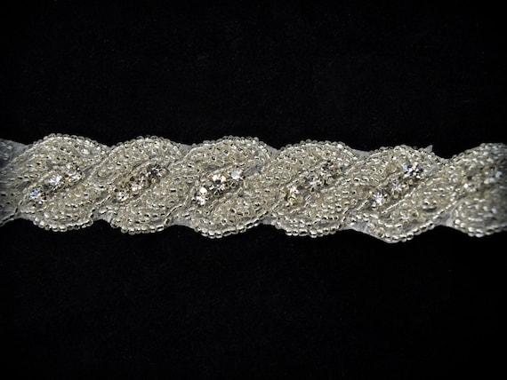 bordé bandeau de strass mariée, garniture perlée par l'yard pour bandeau bordé de fille de fleur, ceintures - 1 yard d7f4b1