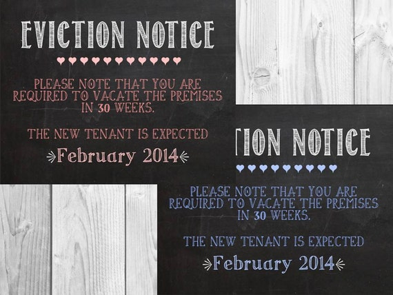 items similar to eviction notice chalkboard printable pregnancy